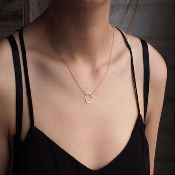 N083 Sparkling Karma Circle Lariat Necklace Gold Plated Pendant Necklace Clavicle Chains Fashion Circles Necklaces Women Jewelry