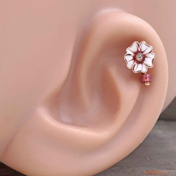 White Flower Rose Gold Cartilage Hoop Earring Tragus Helix Piercing