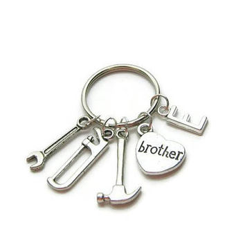 Brother Keychain, Construction Keychain, Brother Construction Keychain, Keychain For Brother, Gift For Brother, Hammer Keychain,Personalized