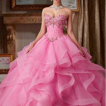 [168.99] Junoesque Organza Sweetheart Neckline Ball Gown Quinceanera Dresses With Beadings - dressilyme.com