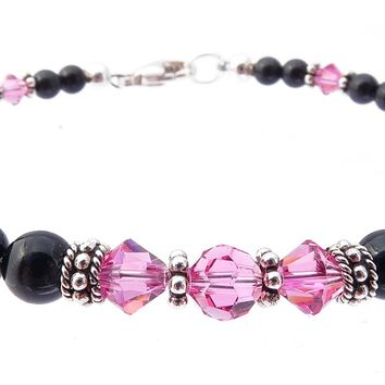 Black Pearl Pink Tourmaline October Birthstone Silver Crystal Beaded Bracelet