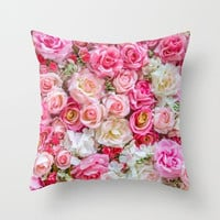 Pink Red White Roses Throw Pillow, Flowers Throw Pillow, Pink Decorative Pillow, Floral Throw Pillow, Pink Bedroom Ideas, Floral Bedroom