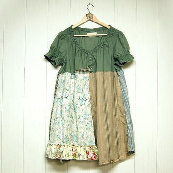 XL/XXL Boho Farm Girl Dress, Upcycled Clothing, Country Chic, Mori Girl, Eco Friendly, Handmade Clothing
