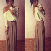 Women Fashion Sexy Cotton One Shoulder Long Sleeve Slim Elegant Back V-neck Long Dress = 1956762180