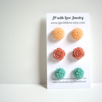 Teal Stud earrings Flower Stud earrings peach cinnamon by JPwithLove