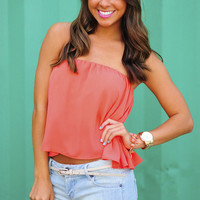 Set For Summer Crop Top: Coral | Hope's
