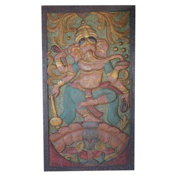 Vintage Colorful Indian Hand Carved Ganesha Dancing on Lotus Door Panel