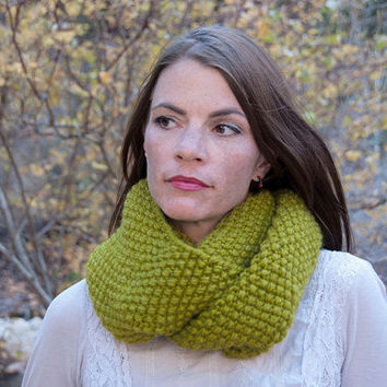 Chunky knit infinity scarf, circle scarf, cowl, hood, yellow green lemongrass, chartreuse