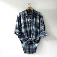Vintage Plaid Flannel / Grunge Shirt / Boyfriend button up shirt / preppy flannel