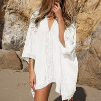 Ladies V Neck Long Beach Cover-up