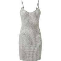 Grey Strappy V Neck Ribbed Mini Dress