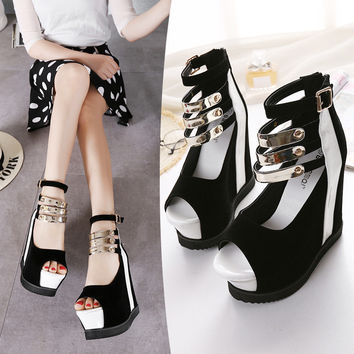 Summer Stylish Design Wedge Peep Toe Sandals = 4804961092
