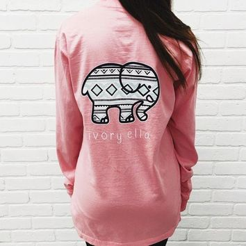DCCKSP2 Trending Fashion Pink Ivory Ella Cartoon Elephant Long Sleeve Round Necked Top Shirt T-Shirt