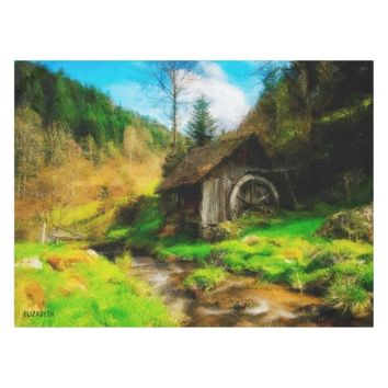 Retro Old Mill In Mountain Valley On Small River Tablecloth