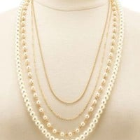 Gold Chain & Pearl Layered Necklace by Charlotte Russe