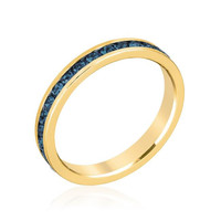 Stylish Stackables With Deep Blue Crystal Ring, size : 05