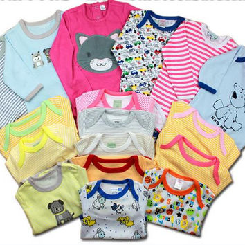 Newborn Baby Boys Girls Rompers Ramdon Color Long-sleeve Jumpsuit Baby Clothing
