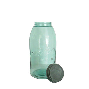 Aqua Ball Jar Antique Mason with Original Zinc Lid - Rare Half Gallon Size Capacity - Vintage Decor and Storage Item