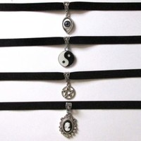 Black Velvet Choker Necklace w/ Pendant/Charm (Yin Yang,Eye,Pentagram,Sun,etc)