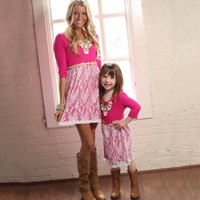 Mommy and Me  Pink Lace Dress
