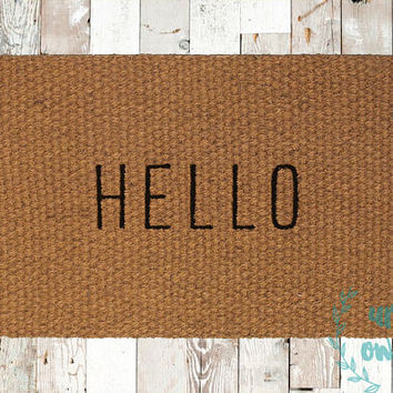 Hello Coir Doormat, Decorative Area Rug, Hand Painted Hand Woven, Housewarming Gift