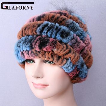 Glaforny 2017 Newest Women's Fashion Real Knitted Rex Rabbit Fur Hats Lady Winter Warm Beanies Caps Female Headgear Fox Balls