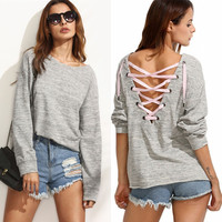 Casual Fall Fashion Winter Long Sleeve Back Bandage Hoodies Blouse  [6446684804]
