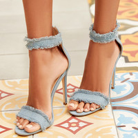 Freya Blue Denim Ankle Strap Heels