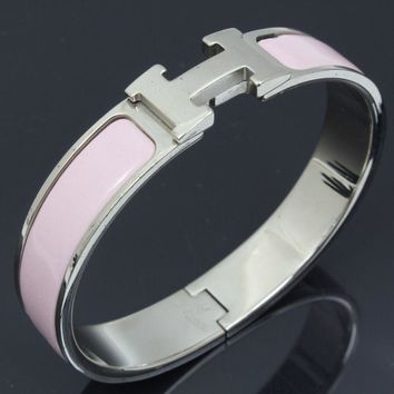 u5773 Authentic Hermes Bracelet Silver Plated Bangle Click Crack Pink