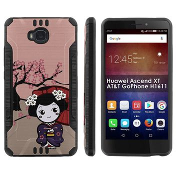 "[Mobiflare] Huawei Ascend XT [AT&T H1611] Shock Proof Armor Phone Cover [Black/Black] Defender Protective Case - [Cherry Blossom Girl] for Huawei Ascend XT [AT&T GoPhone H1611] [6"" Screen]"