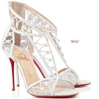 Christian Louboutin MARTHA White Leather Cutout Sandals Heels Pumps Shoes $1495
