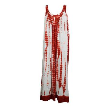 Mogul Womens Red/White Tie Dye Long Dress Sleeveless Scoop Neck Summer Style Boho Chic Beach Cover up Tank Dress - Walmart.com