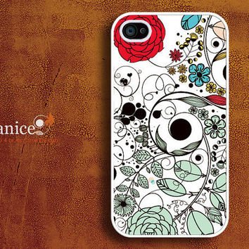 iphone 4s case iphone case iphone 4 cover sweet colorized classic red  flower unique Iphone case