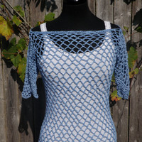 crochet blue mesh top, festival wear, summer blouse