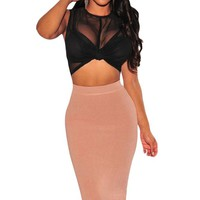 Black Sheer Mesh Knotted Crop Top