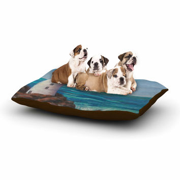 "Cyndi Steen ""The Lighthouse Rocks"" Blue Painting Dog Bed"