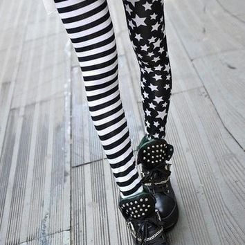 Fashion Plus Size Lady Skinny Thin Punky Flag Star Split Graffiti Scrawl Pants Stripe One Size 3 Styles [NF] LB