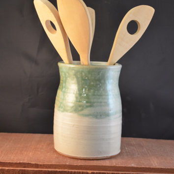 Handmade Ceramic Kitchen Utensil Jar or Canister - Moss Green and Ivory White
