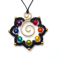 CHAKRA Necklace Rainbow Mandala Hippie Flower Pendant Brass Wirework Gypsy Jewelry Wire Wrapped Brass Necklace Gold Beaded Colorful Spiral