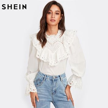 SHEIN Eyelet Embroidered Ruffle and Bell Cuff Blouse White Blouses Elegant Women's Long Sleeve Blouse