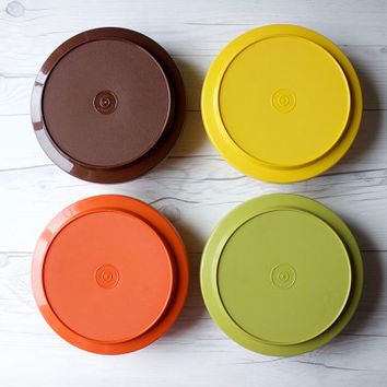 Set of 4 Vintage Round Tupperware Seal n Serve Container Bowls | Harvest Gold, Avocado Green, Orange, Brown | Made in the USA | 70s Kitchen