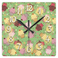 Cute Green with Pink and Yellow Cupcakes Square Wall Clock