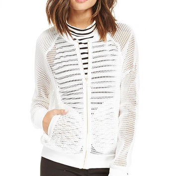 White Mesh Baseball Jacket with Metal Zipper