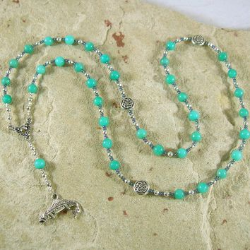 Fionn Prayer Bead Necklace in Amazonite: Irish Celtic Warrior God