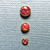 Set of Three Red Opal in Gold Titanium Microdermal Tops - 3mm 4mm 5mm