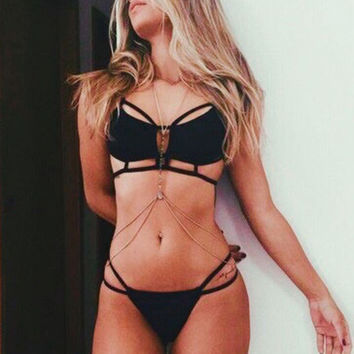 Solid Color Sexy Hollow Out Bikini Swimsuit Swimwear show body pure black bandage holes