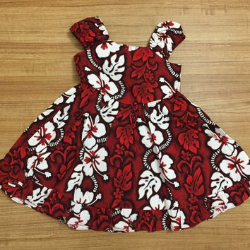 KY's Red and White Hibiscus Girls Sundress