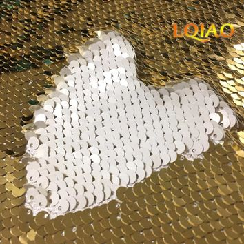2018 Newest 45*125cm Light Gold and White Reversible Sequin Fabric Mermaid Sequin Fabric,DIY Fabric For Cushion Backrest Clothes