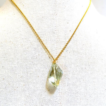 Dainty light Green Amethyst faceted nugget necklace, birthstone,Capricorn,Scorpio, gemstone jewelry, gemstone necklace,gift,handmade jewelry