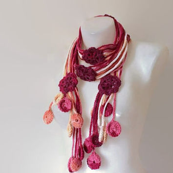 Handmade Scarf - Flower Lariat Scarf - Multicolor Fashion Scarf - Unique Gift